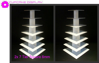 2 x 7 tier square 8MM wedding birthday party cupcake cup cake stand strong