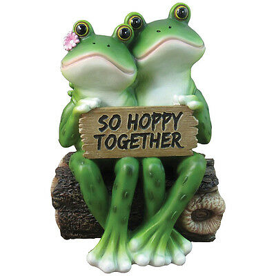 "NEW ""So Hoppy Together"" Adorable Amphibian Couple Decorative Resin Frogs Figure"