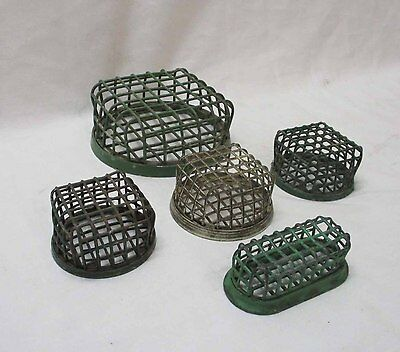 Group of Five (5) Vintage Primitive Wire Mesh Flower Frogs (#9)