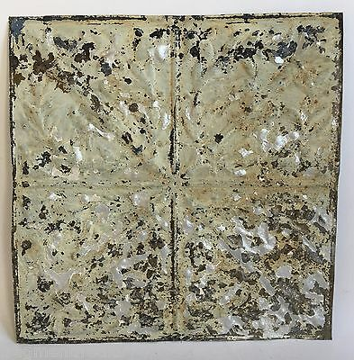 """12"""" x 12"""" Antique Tin Ceiling Tile *SEE OUR VIDEOS* Green Silver Torches B59a"""