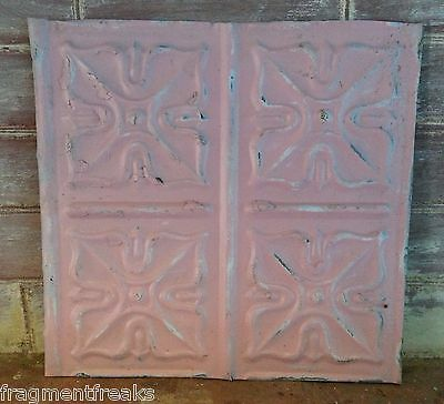 """12"""" x 12"""" Antique Tin Ceiling Tile Vintage ML22 *SEE OUR SALVAGE VIDEOS Pink"""