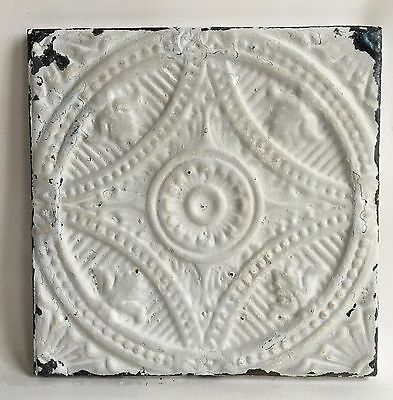 """11"""" x 11"""" Antique Tin Ceiling Tile Wrapped Frame White Anniversary Wall Art 87A"""