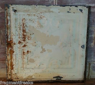 "12"" x 12"" Antique Tin Ceiling Tile Vintage ML16 Ivory Reclaimed Metal"