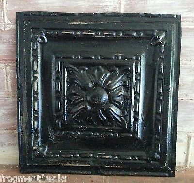 """12"""" x 12"""" Antique Tin Ceiling Tile ML29 *SEE OUR SALVAGE VIDEOS Black"""