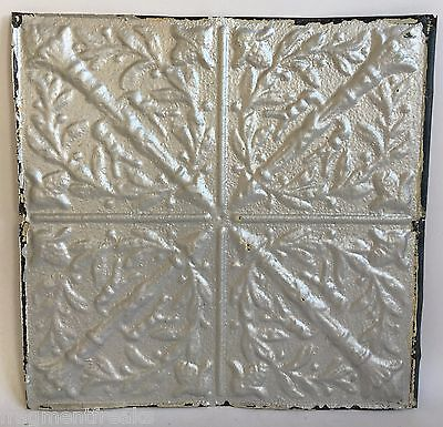 "1890's Reclaimed 12"" x 12"" Antique Tin Ceiling Tile Shabby Silver Torches B62a"