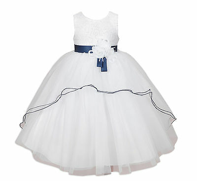 New White and Blue Sash Bridesmaid Party Flower Girl Dress 3-4 Years