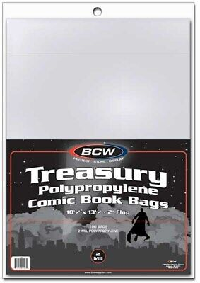 1000 BCW Archival 2-Mil Treasury Comic Book Poly Bags acid free clear sleeves