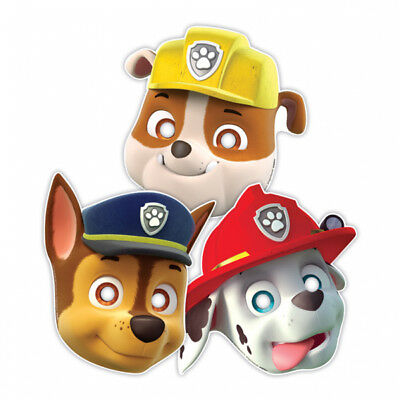 Paw Patrol Character Paper Party Masks x 8