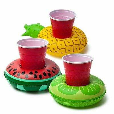 3 x Big Mouth INFLATABLE BEVERAGE BOATS Fruit PINEAPPLE WATERMELON Drinks Holder