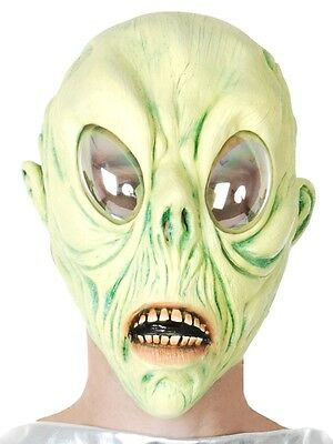 NEW Full Head ALIEN WITH REFELCTIVE EYES Latex Mask - Halloween Dress Up Costume