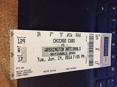 2016 Washington Nationals Vs Chicago Cubs Ticket Stub 6/14