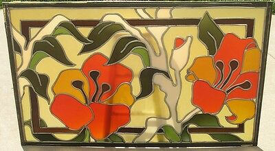 3 Mid Century Ben Mayer Art Glass Stained Leaded Window Ceiling Panels 30x48""