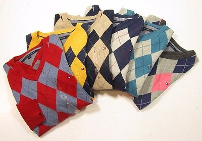 Tommy Hilfiger Men's L/S Pull Over V-Neck Argyle Sweater