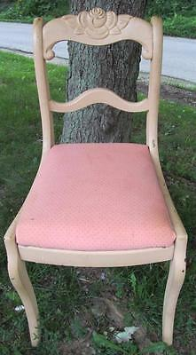 Vintage Parlor Chair Carved Wood Rose Fancy
