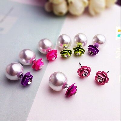 Double Sided Pearl Stud Earrings Korean Style Sweet Flower Earrings For Lady