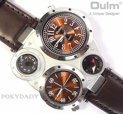 OULM 9415 Military Army Leather BROWN Dial  Mens Dual Time Zones Wrist Watch