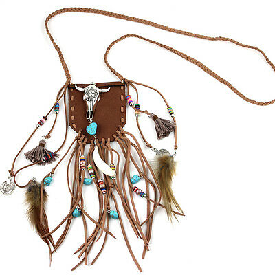 New Bohemia Nepal Silver Tauren Jewelry Handmade Leather Tassel Pendant Necklace