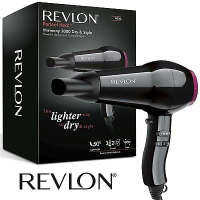 Revlon RVDR5823UK 2000 Watt Powerful Compact Lightweight Hair Dryer Black NEW