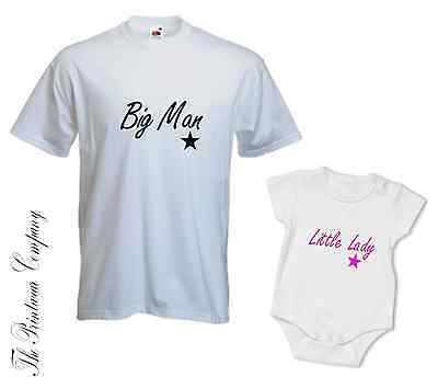 Daddy Dad & Daughter Little Lady Matching T-Shirt Tee & Babygrow Top Baby Grow