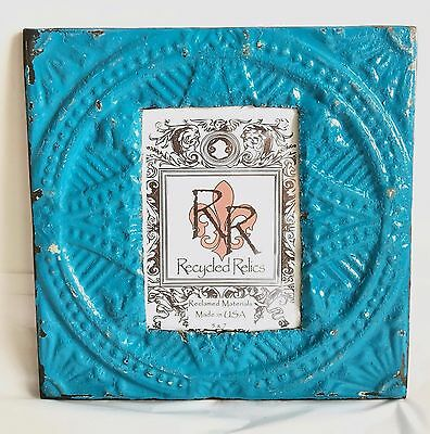 "1890's Antique Ceiling Tin Picture Frame 5"" x 7"" *See OUR Salvage Videos Blue S2"
