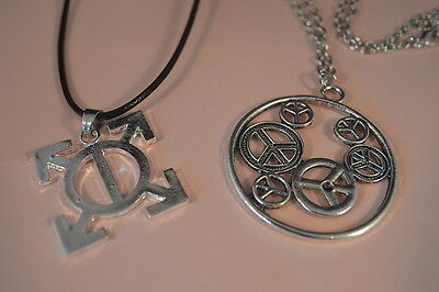 Lot of 2  1960'S STYLE NECKLACES -  PENDANTS  Peace Sign Jewelry NEW USA SELLER
