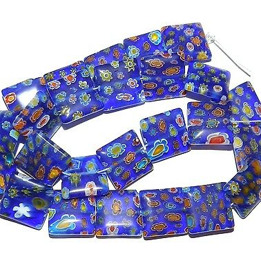 G3028 Blue w Multi-Color Flowers 16mm Flat Square Millefiori Glass Beads 15""