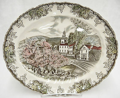 "Johnson Bros Friendly Village 11"" Oval Platter The Village Green"