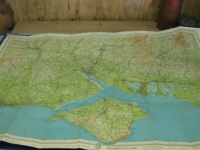 Bartholomews revised half inch folding cloth map,new forest +isle of wight good.
