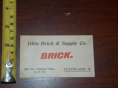 Ohio Brick Supply Co Cleveland Ohio Business Card Advertisment Creased Corner