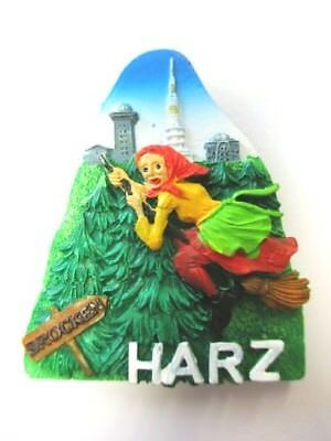 Harz Hexe Brocken Magnet Poly Rolle 6,5 cm ,Souvenir Germany New !