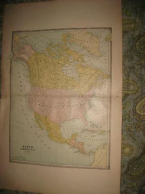 Huge Gorgeous Antique 1885 North America Map United States Canada West Indies Nr