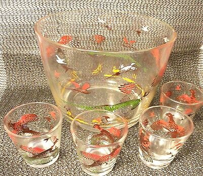 Hazel Atlas Pheasant Hunting Bar Set Ice Tub 4 Shot Glass Mint Fathers Day