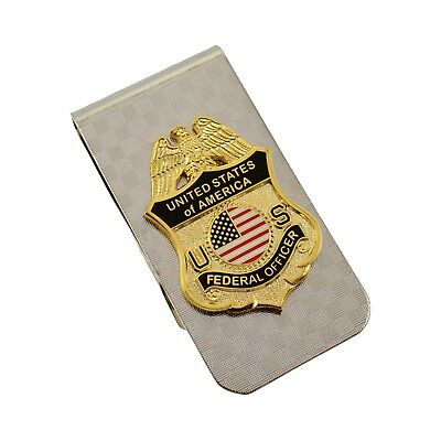 Federal Officer Mini Badge Silver Men's Money Clip Cash Holder