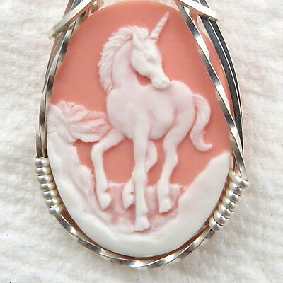 Unicorn Cameo Pendant .925 Sterling Silver Jewelry Pink Resin