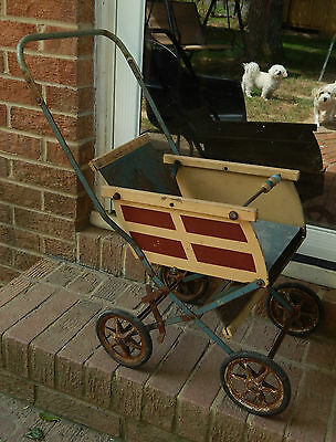 Vintage Baby Doll Push Buggy Stroller Carriage, Metal w/  Wooden Sides