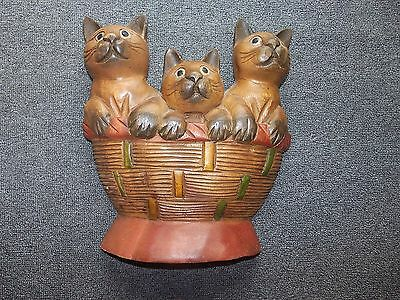 Large Vintage Wooden Siamese Cats In A Basket Plaque Wall Hanging 12 X 10.5 X 3