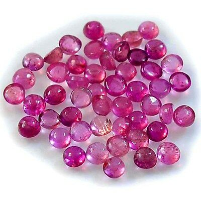 1Pc Natural Pink Tourmaline (2mm) Round Cabochon