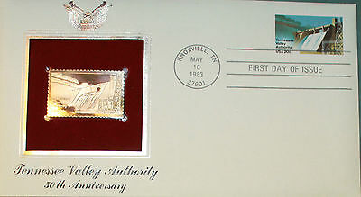 First Day of Issue, Tennessee Valley, 50th Anniversary c/w its Golden Replica