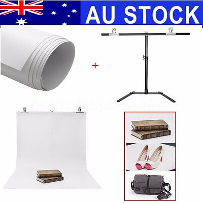 Adjustable Photography Support Stand + White PVC Backdrop Background + 2 Clip AU