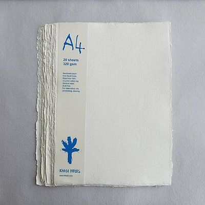 Khadi White Cotton Paper Pack 320gsm A4 20 Sheets. Artists Handmade Paper.