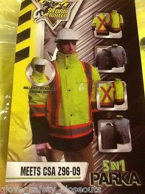 New Xlarge  5 In 1 Winter Parka Safety Hi Vis Csa Approved Storm Fighter