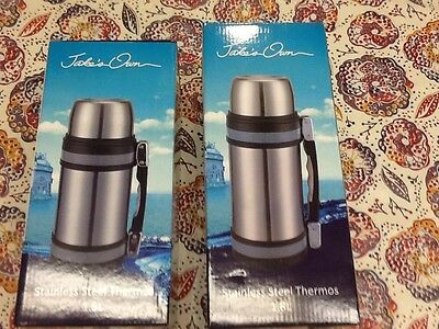 2 Brand new stainless steel 1.5 & 1.8 insulated drink soup coffee thermos & cup