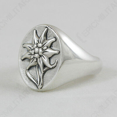 GEBIRGSJAGER EDELWEISS RING - Repro WW2 German Military Army Silver Jewellery
