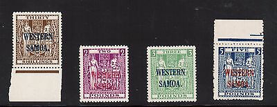 Samoa #199 - #202 (SG #211 - #214) VF/NH Wiggins Teape Paper NZ & Star