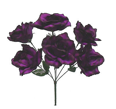 PLUM PURPLE ~ 6 OPEN ROSES Soft Touch Silk Wedding Flowers Bouquets Bridal Decor
