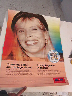 """Joni Mitchell Canada Post Stamp Poster 2-sided Commemoritive 27 3/4"""" x 22"""""""