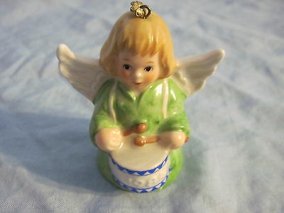 1984 Goebel ANGEL BELL ORNAMENT Green With Drum FREE SHIPPING