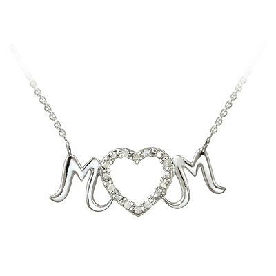 925 Sterling Silver .10ct Diamond MOM Heart Necklace