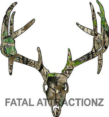 75a0111e6439a Camo Deer Skull S7 Vinyl Sticker Decal Hunting Big Buck trophy whitetail bow