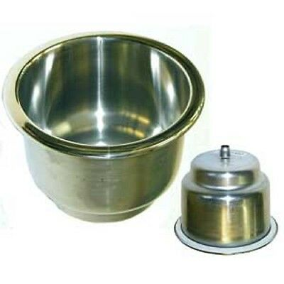 "Stainless Steel 316 Recessed Drink Holder Highly Polished 3"" Deep Weep Hole"